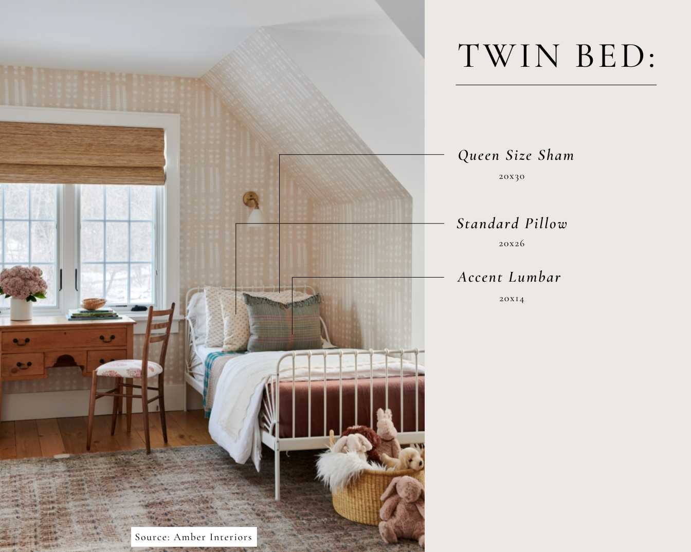 twin bed pillow size guide