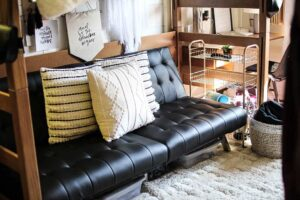 college dorm futon with cute pillows
