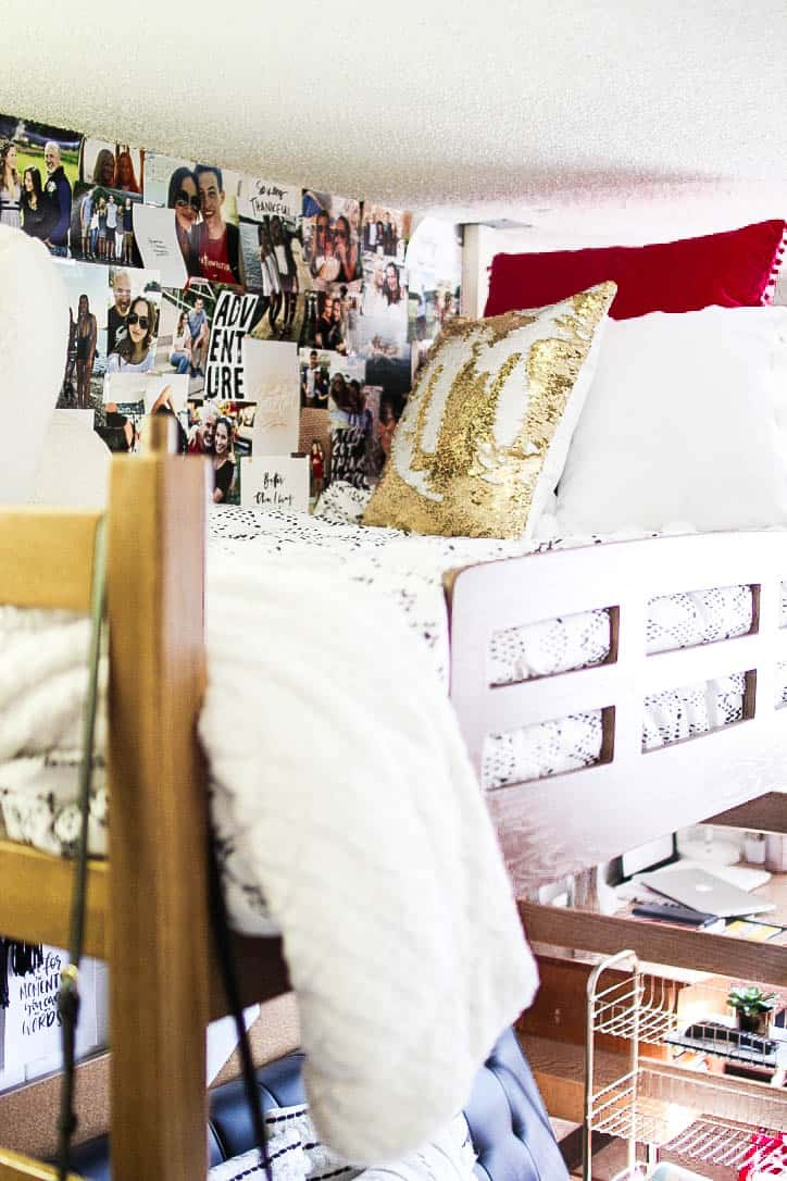 dorm room bed decor with pictures