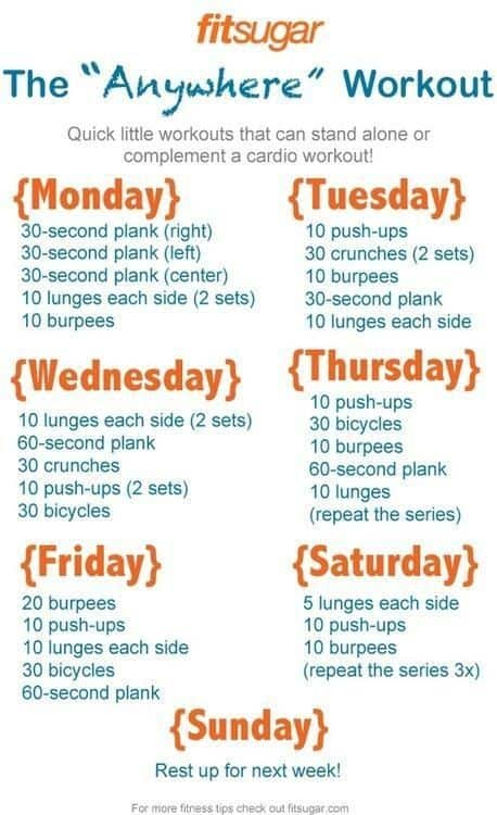 weekly college workout routine