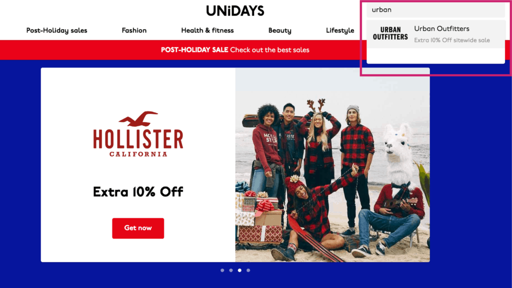 unidays website screenshot