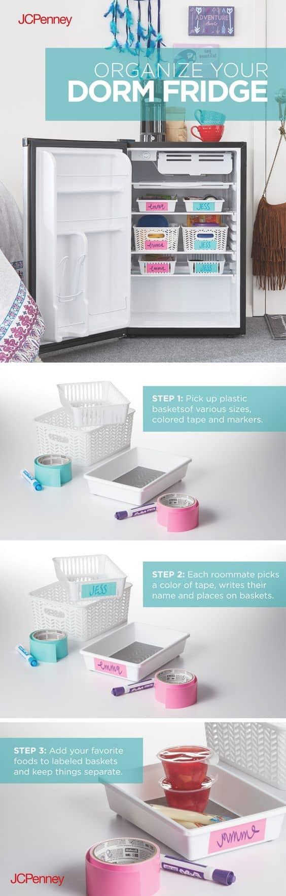 mini fridge organization ideas