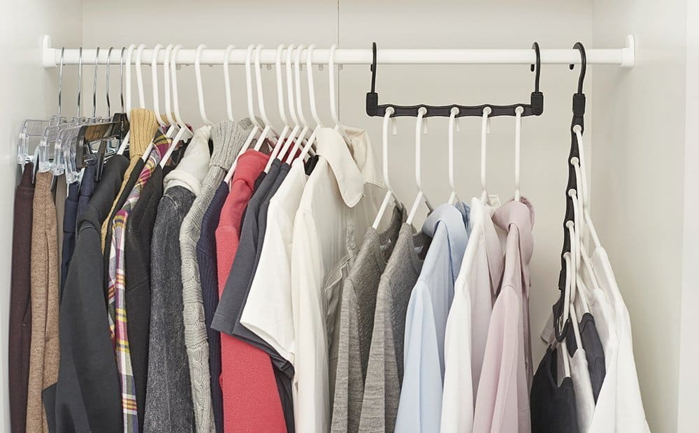 dorm organizing tips for college students in a closet