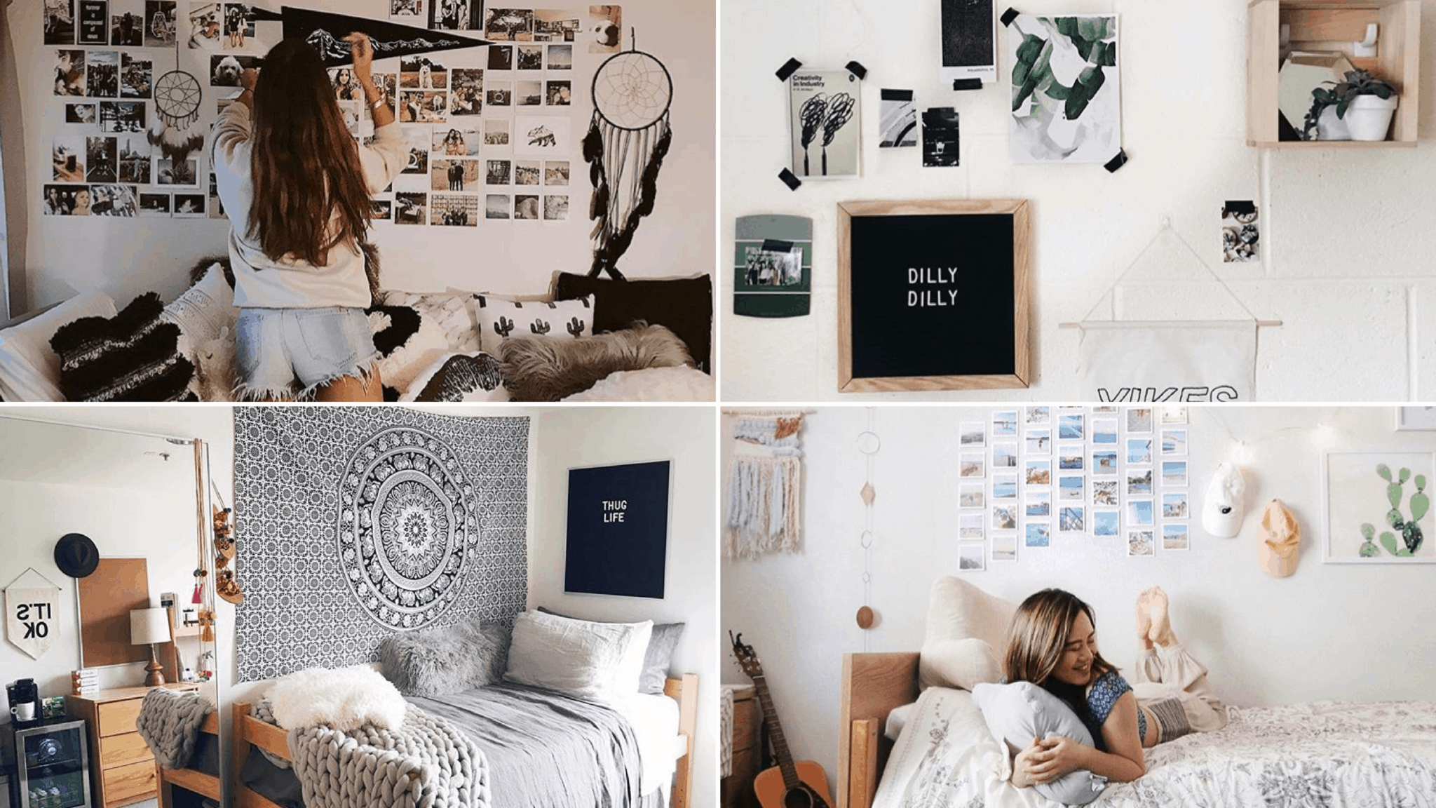 9 genius ways to decorate your dorm room walls by sophia lee - How to decorate a dorm room ...
