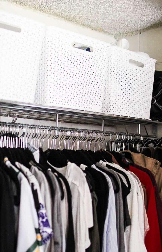 dorm room closet organization using baskets
