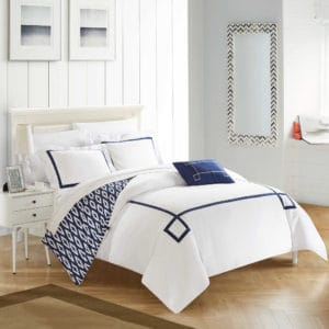 white and navy dorm bedding