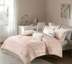 girly pink dorm bedding