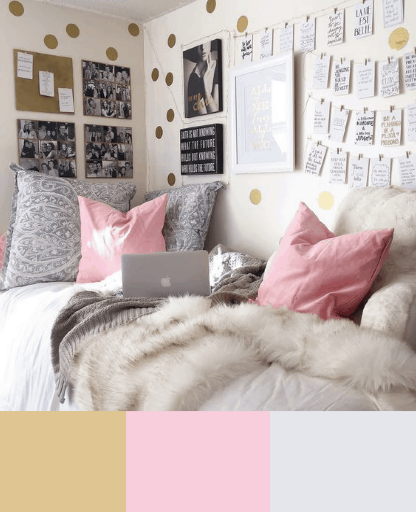 gold pink and gray dorm room colors