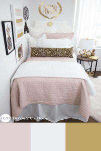 pink and white dorm room color scheme