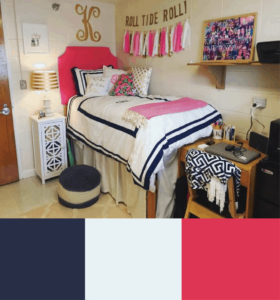navy white and pink dorm room color schemes