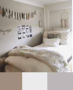 neutral color scheme for dorm room ideas