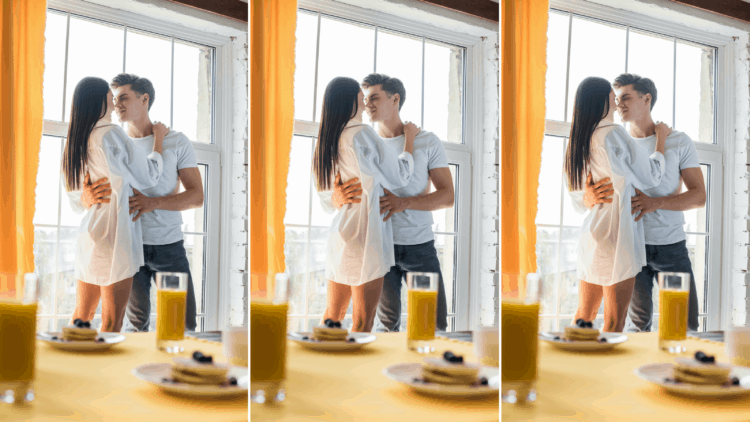 long distance couple kissing in hotel room