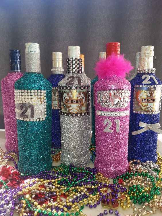 Glitter Alcohol Bottles For 21st Birthday Gift