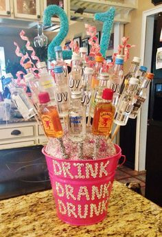 Alcohol Flower Bouquet For 21st Birthday