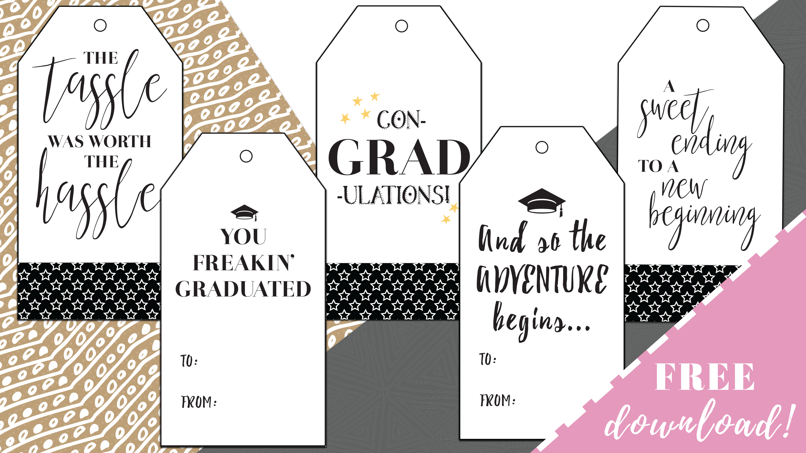 photo relating to Gift Tags Printable titled Simplest Absolutely free Printable Commencement Reward Tags - By way of Sophia Lee