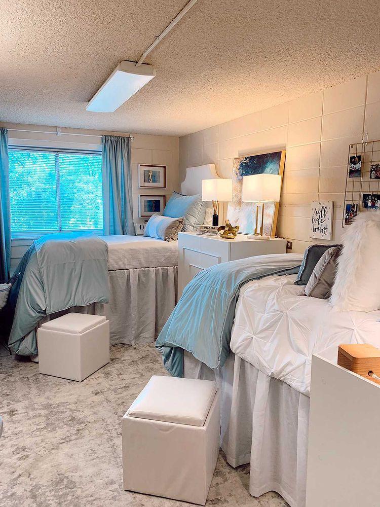 blue and grey dorm room ideas