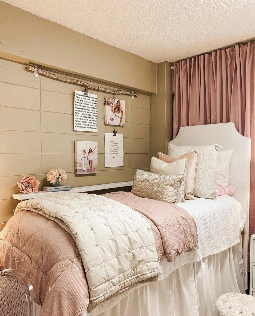 pink dorm room ideas
