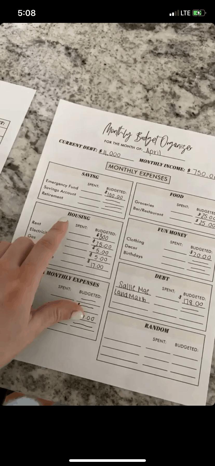 budget sheet printable