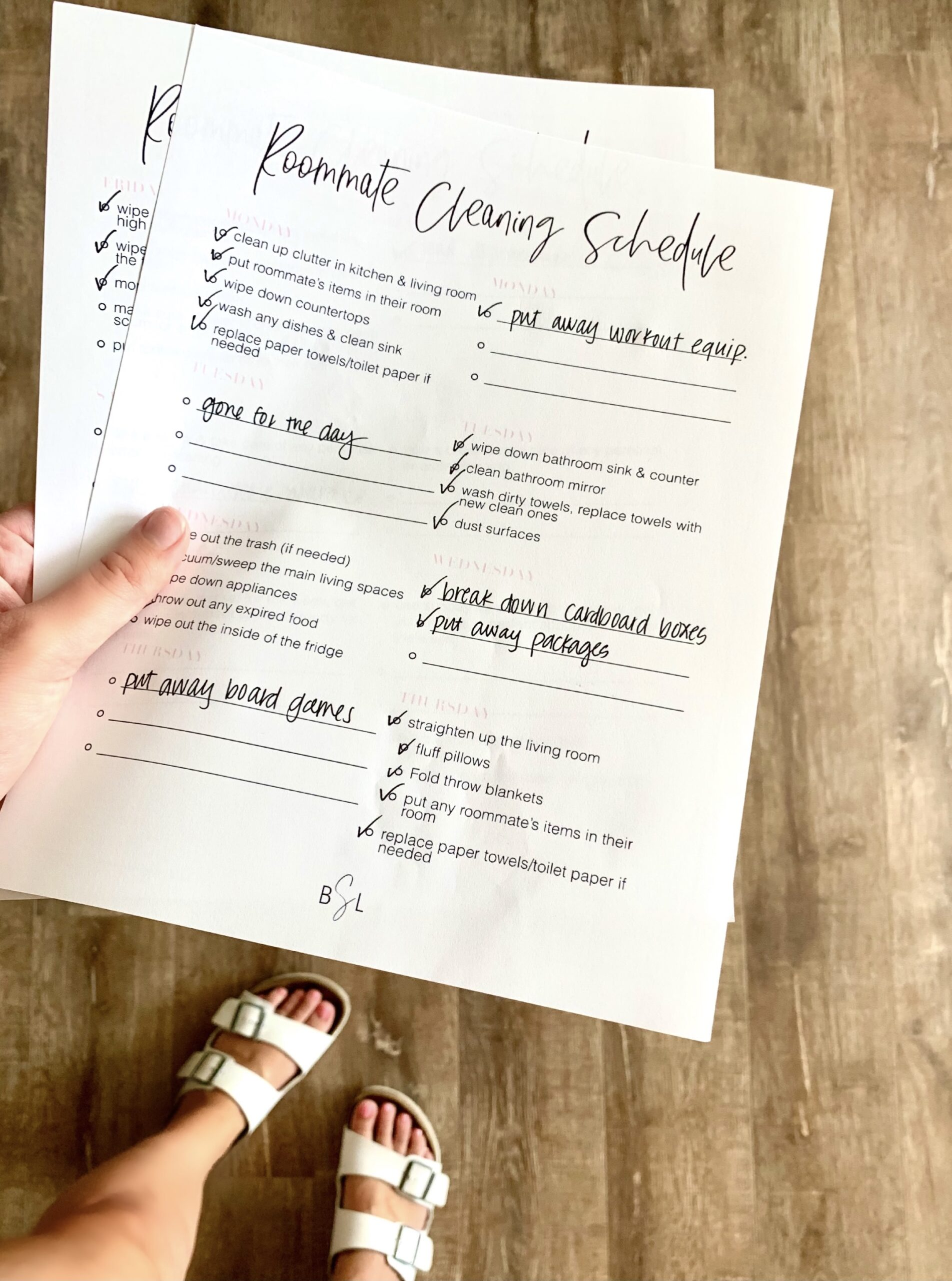 college chore chart template