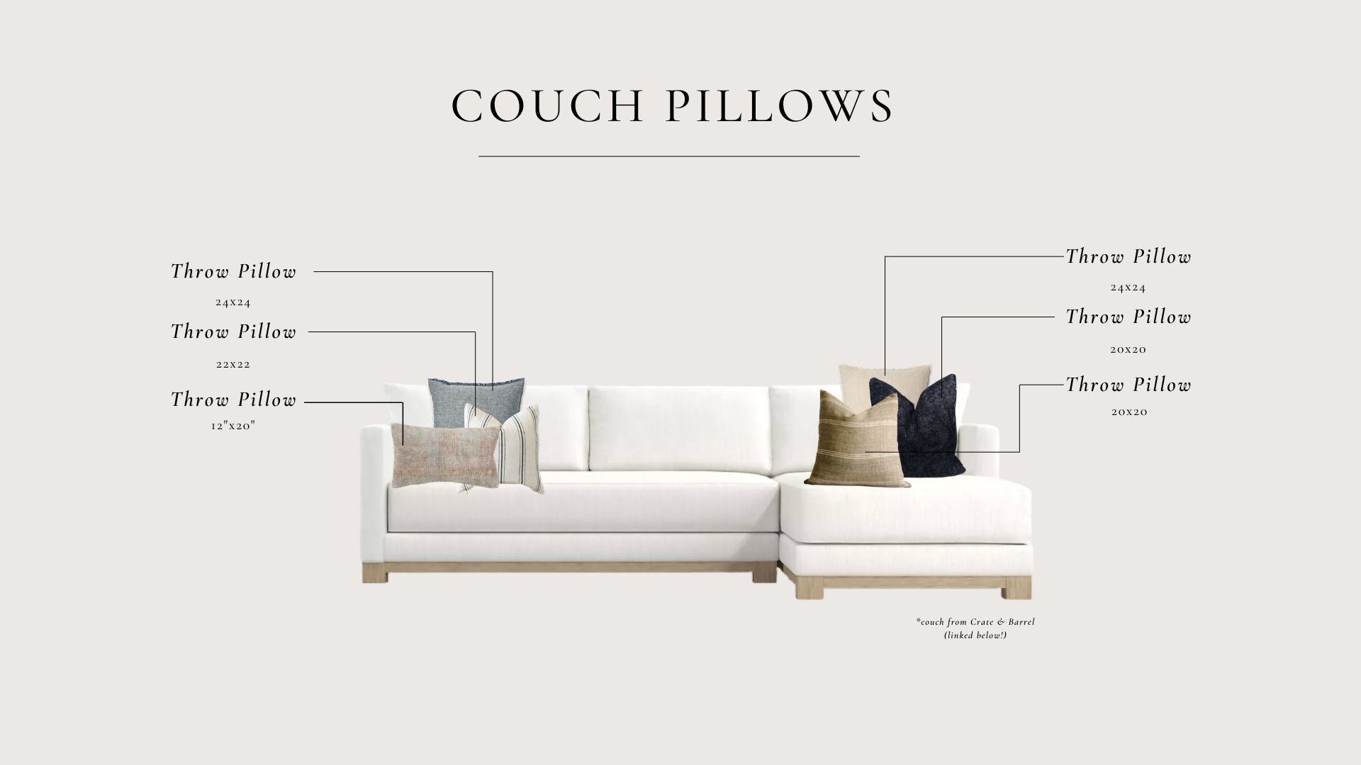 couch pillow sizes