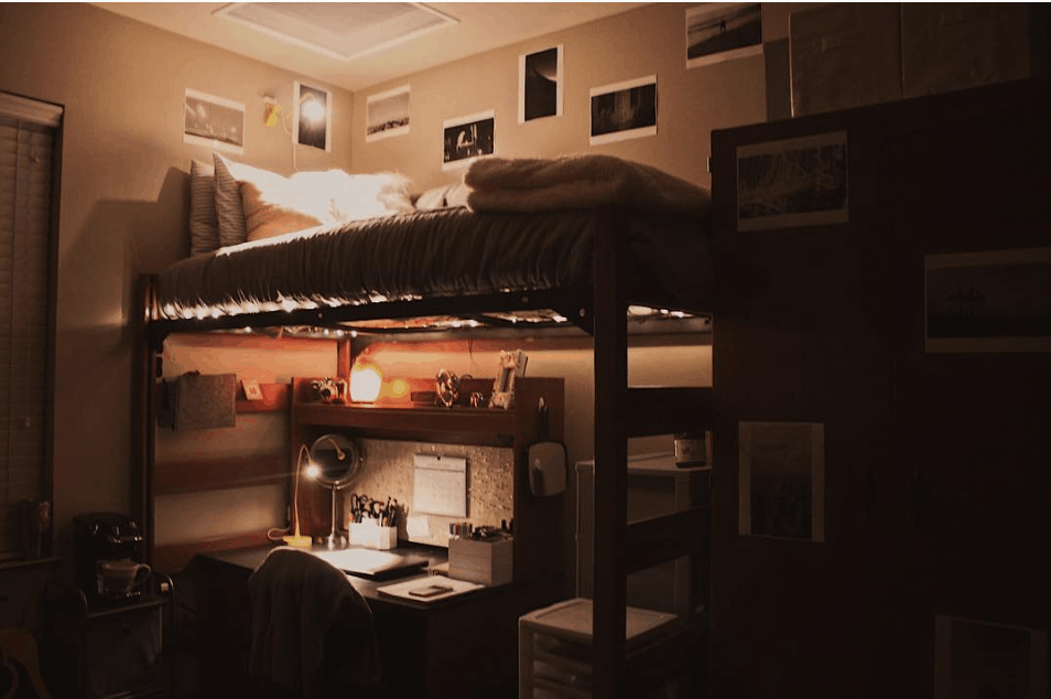 organized dorm room