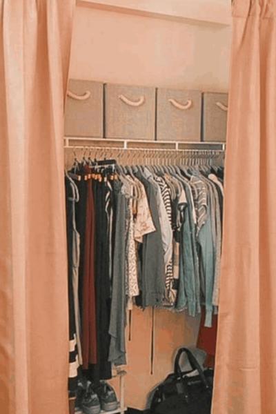 dorm closet organization