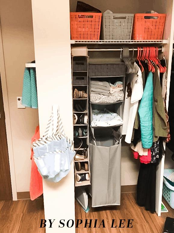 dorm organization closet
