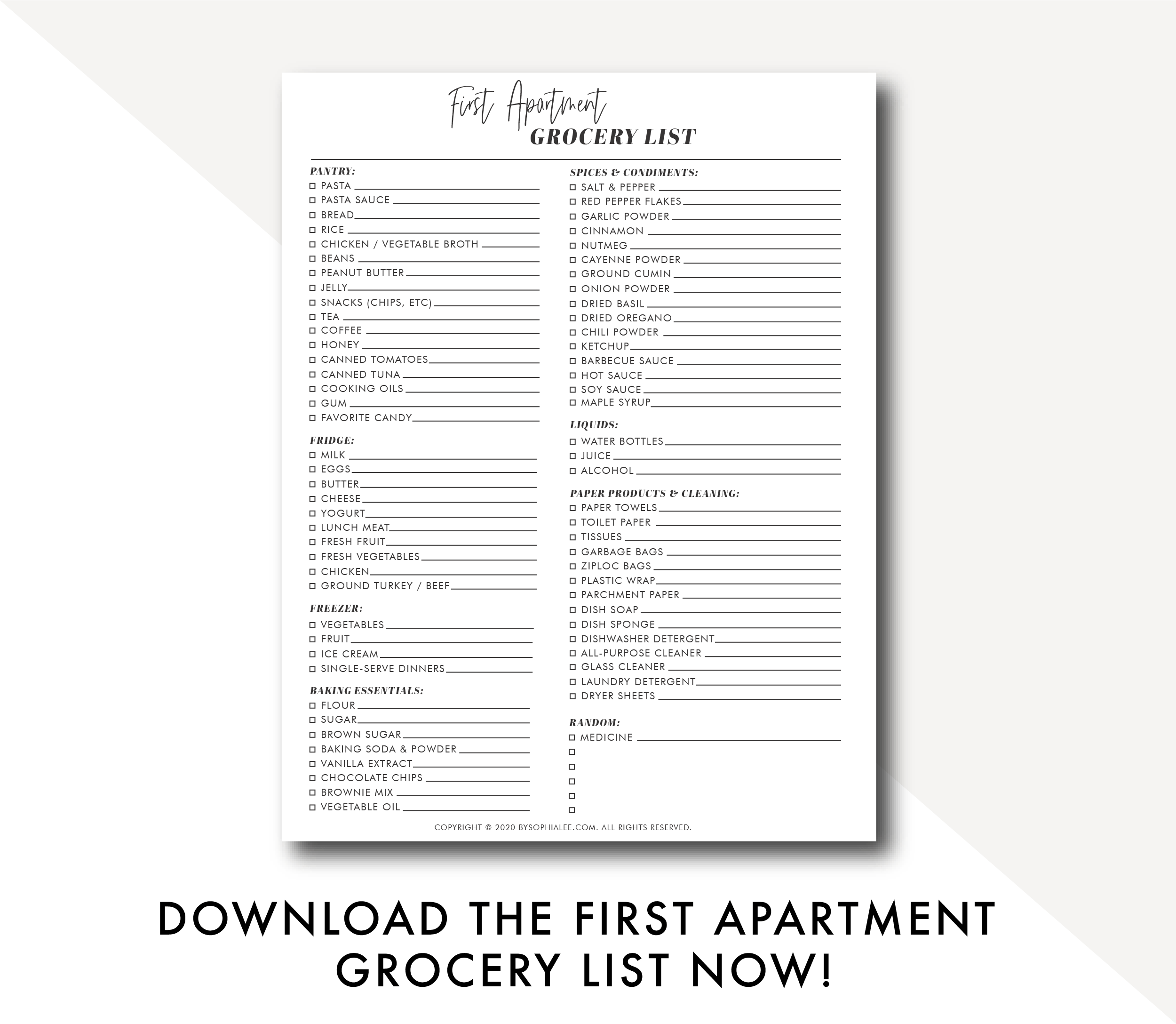 first apartment grocery list