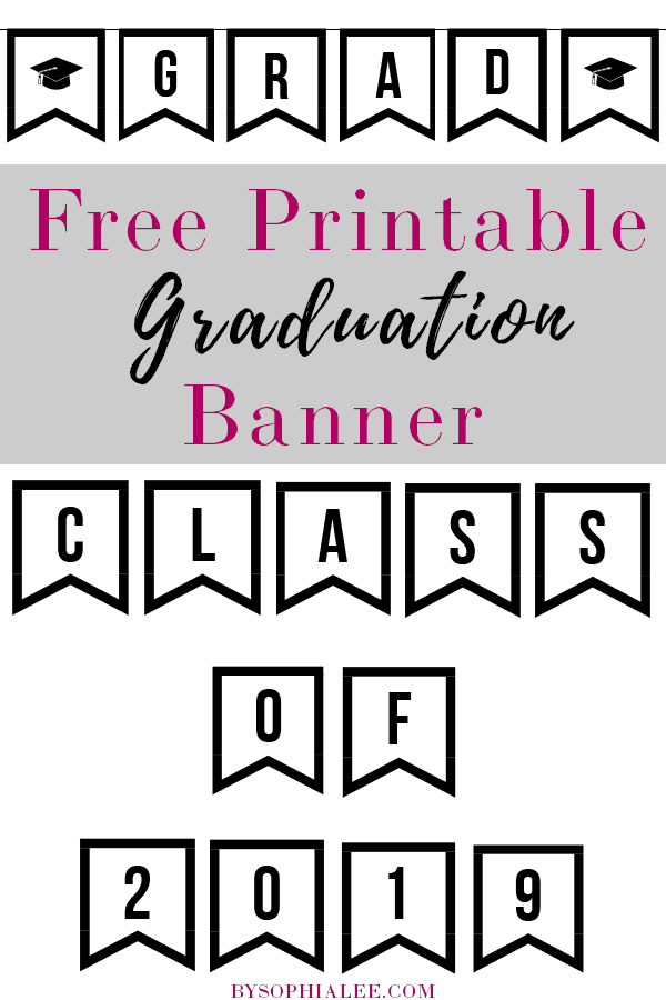 photo regarding Free Graduation Printable titled Cost-free Printable Commencement Banner - Via Sophia Lee