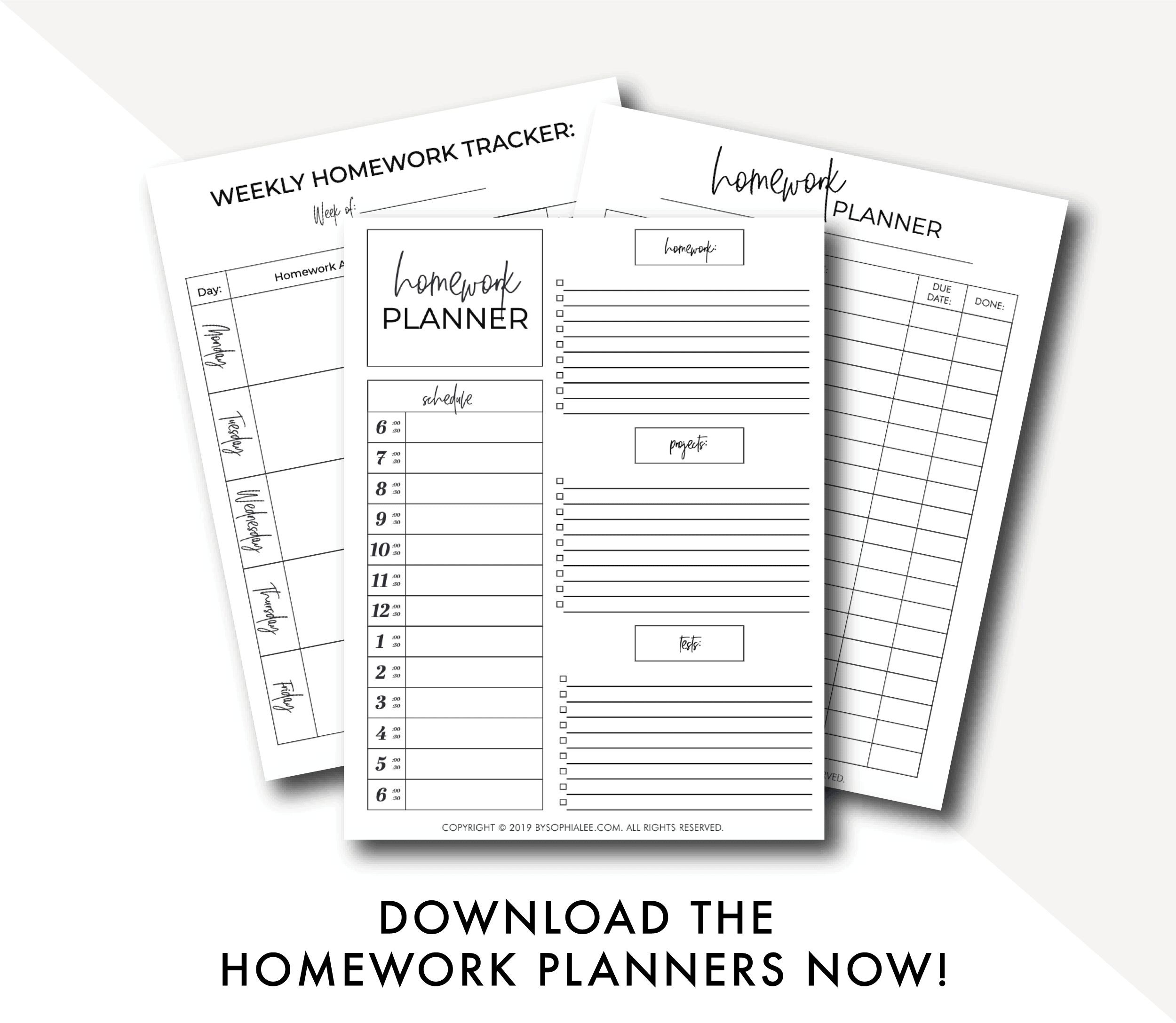 homework planners by sophia lee