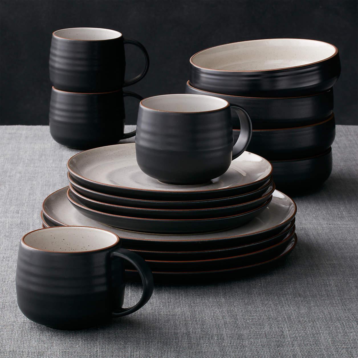 black kitchen dishes