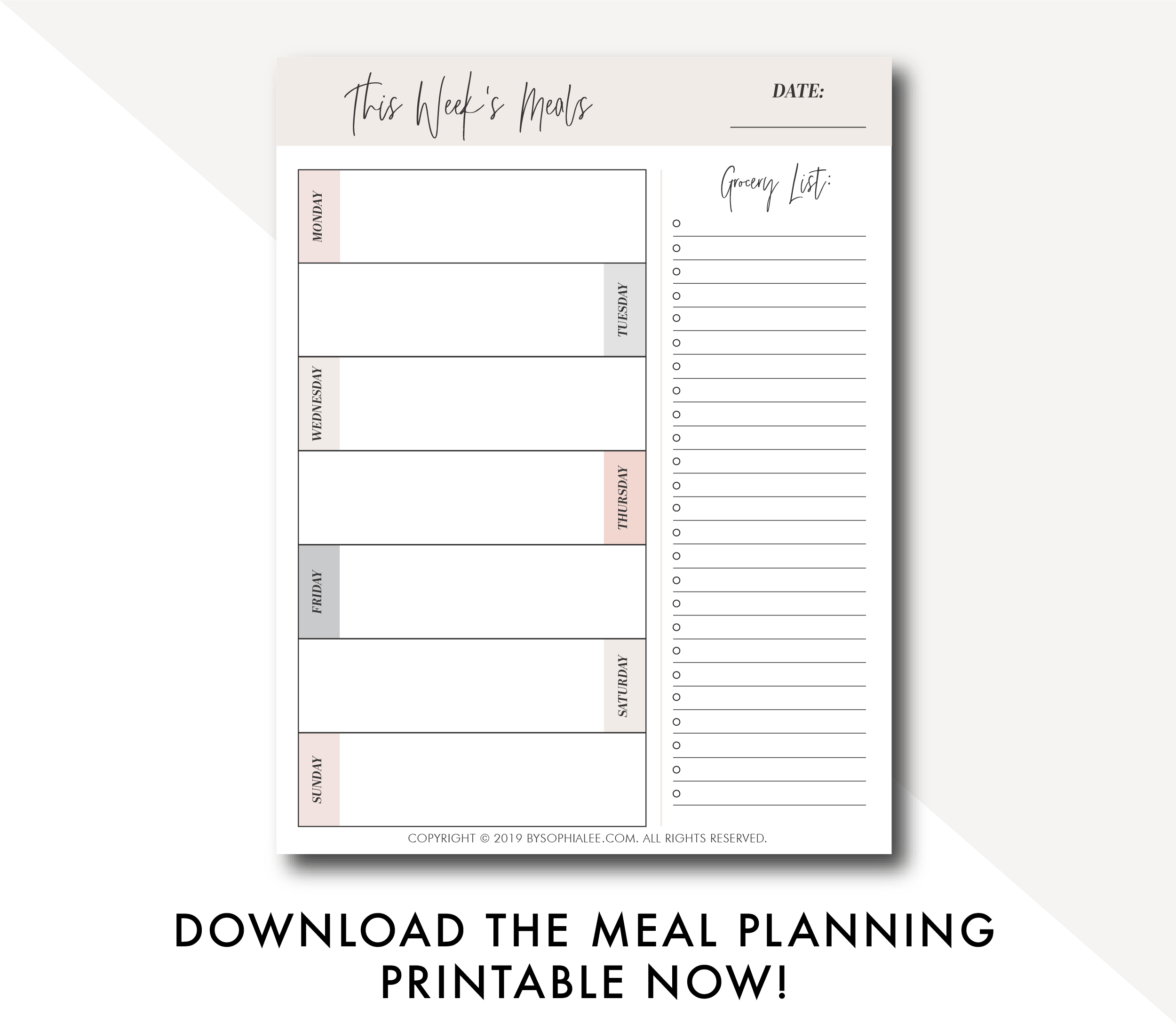 meal planning printable