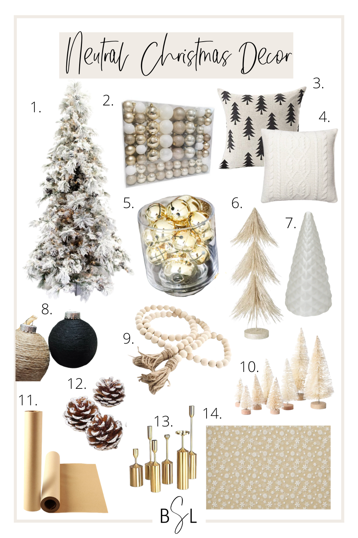 neutral christmas decor collage