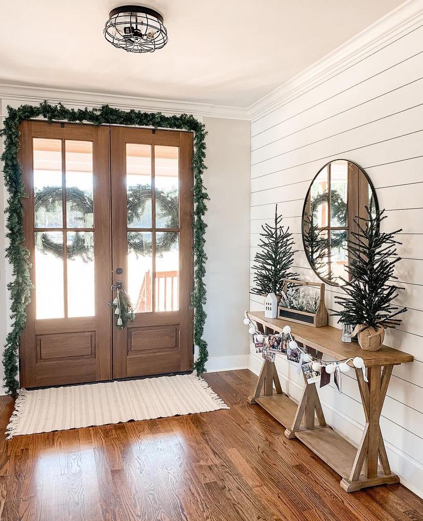 neutral christmas decor entryway