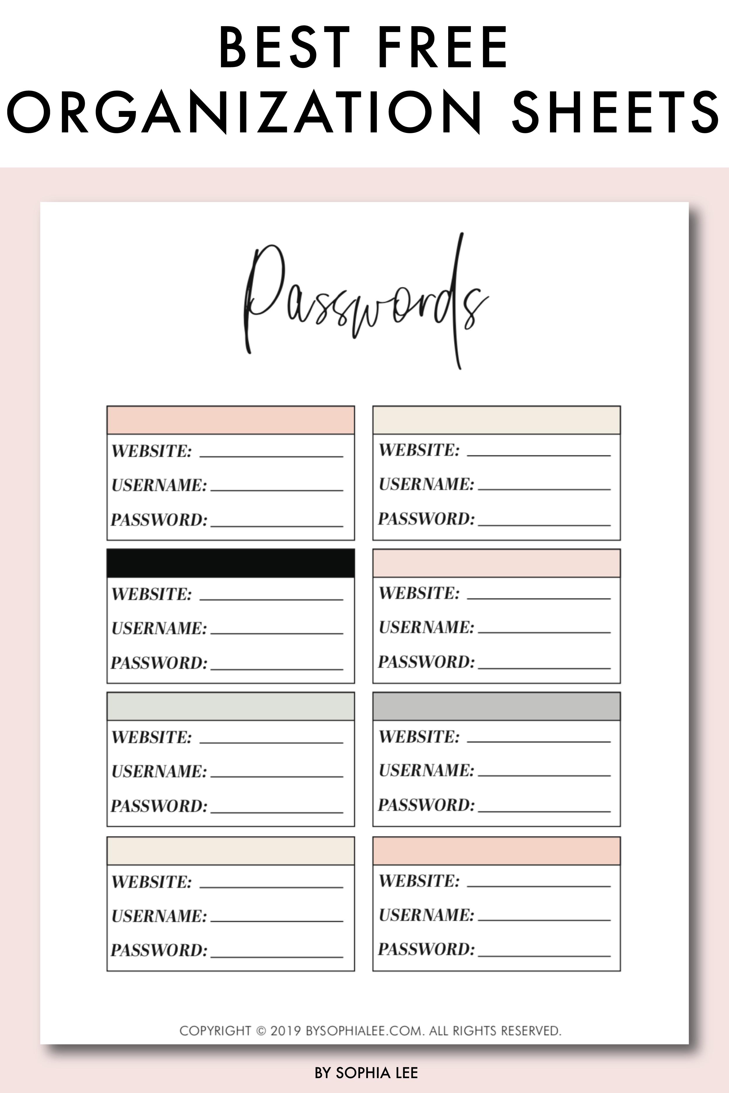 printable organization sheets