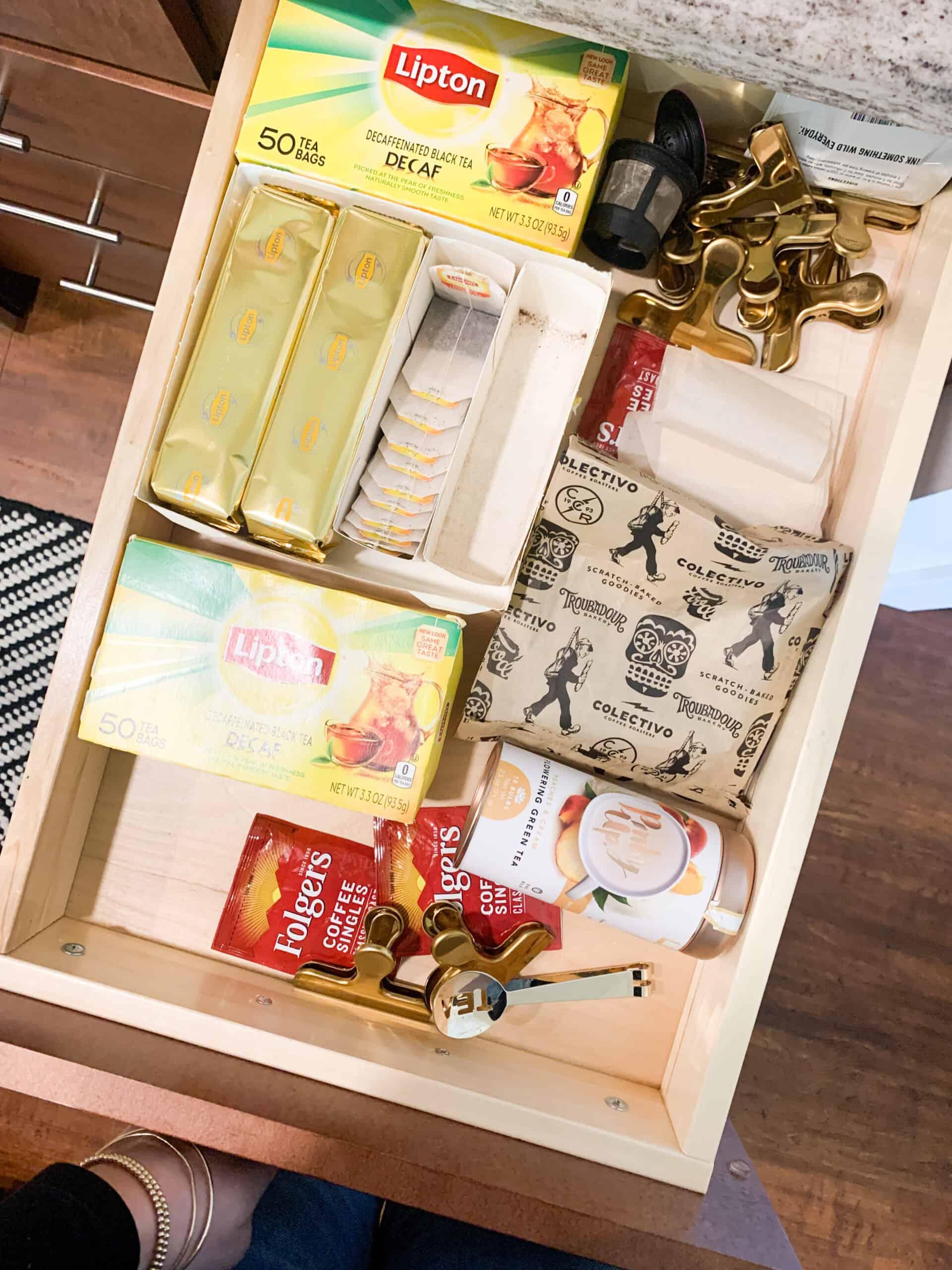 tea drawer organization