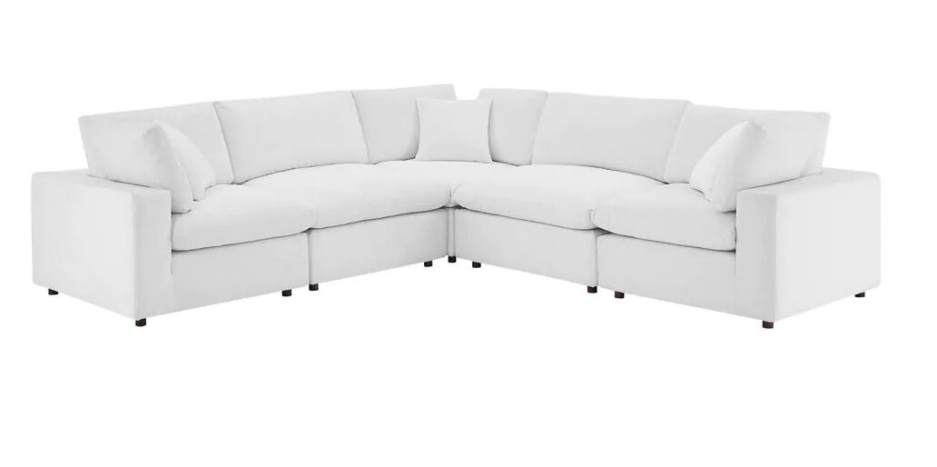 overstuffed white couches